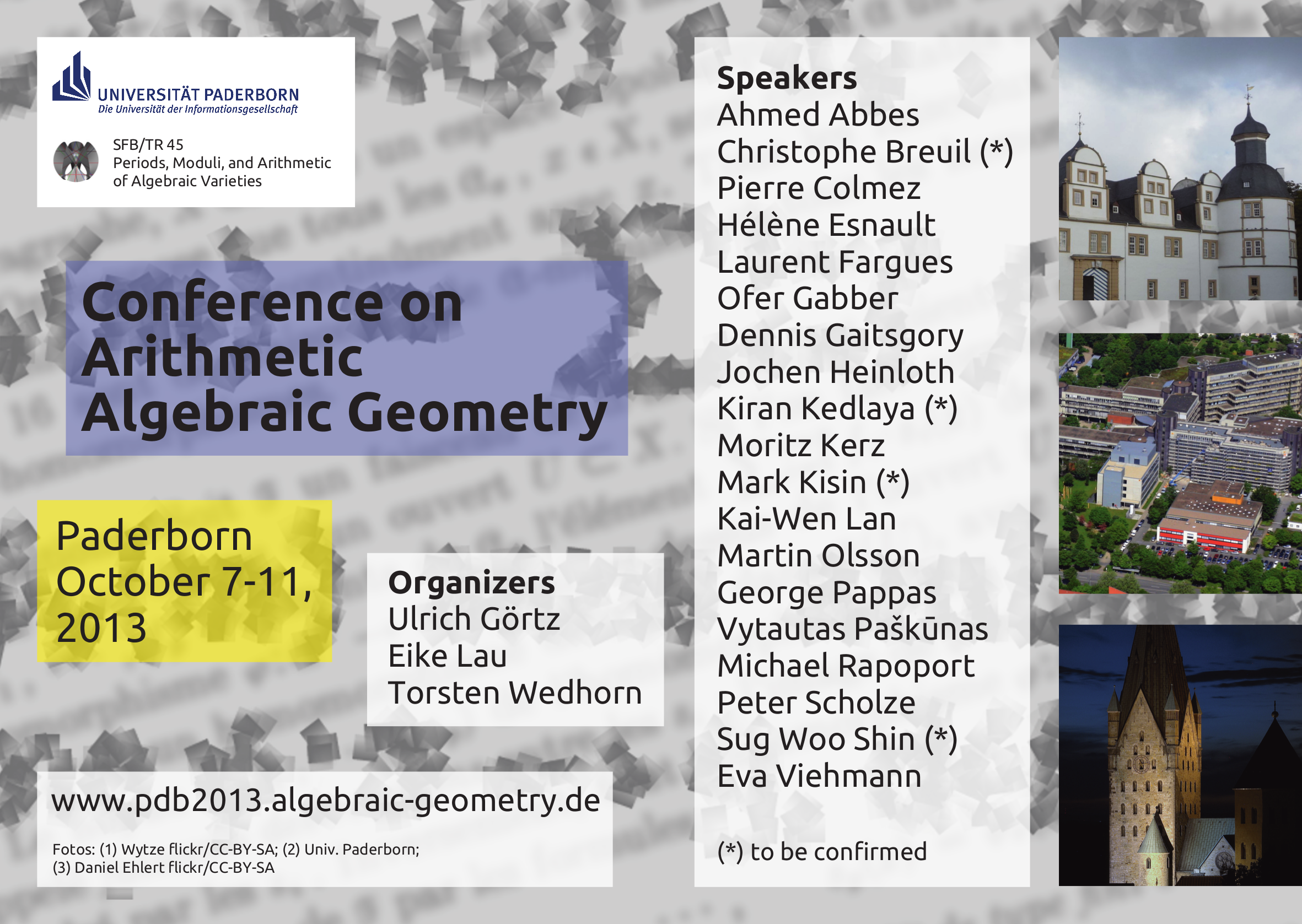 Conference on Arithmetic Algebraic Geometry, Paderborn 2013